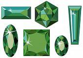 Different cut emeralds