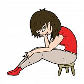 cartoon woman sitting on small stool