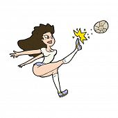 cartoon female soccer player kicking ball