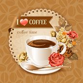 Coffee card template for restaurant, bar, cafe