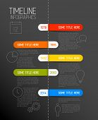 Vector Infographic dark timeline report template with icons and rounded labels
