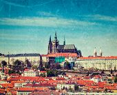 Vintage retro hipster style travel image of  Hradchany: the Saint Vitus (St. Vitt's) Cathedral and P