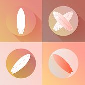 Surfboards icons set made in modern flat design. Surfing boards with long shadows. Vector illustrati