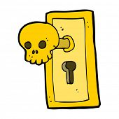 cartoon spooky door knob
