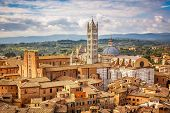 Aerial view over Siena: Siena Cathedral