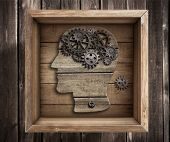 picture of thinking outside box  - Brain work - JPG
