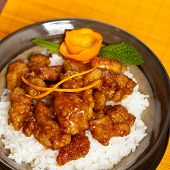 picture of crispy rice  - Homemade Orange Chicken with Rice - JPG