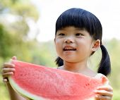 Smiling Child Hold Watermelon