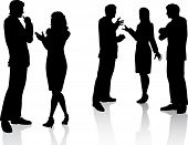 pic of person silhouette  - Silhouettes of business people in conversation - JPG