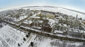 RUSSIA, SAMARA - JAN 6, 2014: Aerial view to Kuibyshev Square near residential houses and church. Is