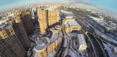 RUSSIA, MOSCOW - JAN 20, 2014: Panoramic aerial view to high-rise residential buildings at Cascade housing complex.