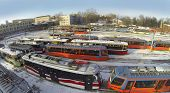 RUSSIA, MOSCOW - JAN 20, 2014: Aerial view to many colorful trams standing at Depot Rusakov.