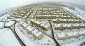 RUSSIA, SAMARA - JAN 5, 2014: Aerial view to Koshelev project with many identical houses.
