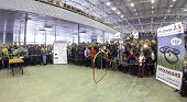 RUSSIA, MOSCOW - JAN 25, 2014: view to people looking  at drone presentation on Geek Picnic. Is largest European festival of modern technology, science and art.