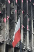 KIEV, UKRAINE - APR 19, 2014: Flag of Poland, that supports Putsch of Junta in Kiev Camp of rioters