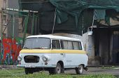 KIEV, UKRAINE - APR 19, 2014  Downtown of Kiev Vintage transport in the rioters camp Putsch of Junta