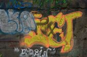 KIEV, UKRAINE -APR 21, 2014: Graffiti in the old tunnel of Stalin. Part of Kiev defense line in WW2