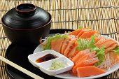 Fresh Salmon Sashimi Set On The Plate