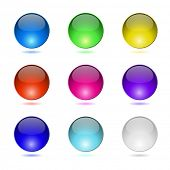 Color round buttons isolated on white background.