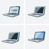 Set Of Four Laptop Icons