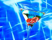 Red Dice In The Cocktail Glass On Blur Blue