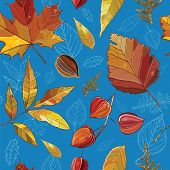 Vector Seamless Pattern With Autumn Set Leaves, Nuts, Tree.