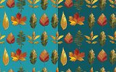 stock photo of elm  - Vector seamless pattern with autumn set leaves - JPG