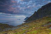 Lofoten Landscape View In Sunset, Norway