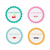 Cute Round Tag Label Set With Dash Line, Cherry, Bow, Lips, Mustache In Flat Design Style. Template.