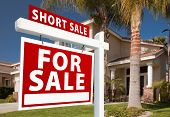 Short Sale Real Estate Sign And House - Left