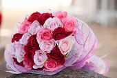 rose boquet on rock