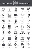 35 SEO Development icons on white background,black version,clean vector