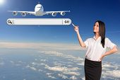 Businesswoman and search string. Passenger airplane as backdrop