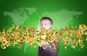 Businessman in suit hold flow of golden currency sign