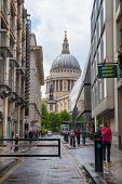LONDON, UK - 18 AUGUST, 2014: St. Pauls cathedral, view from the old street