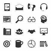 Marketing Black And White Flat Icons Set