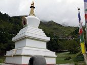 Buddhistic Stupa In The Annapurna Himalayas