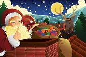 Santa Claus With Sleigh Full Of Christmas Presents