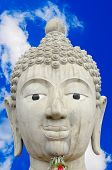 Head Of Buddha Image And Cloudy Blue Sky Background