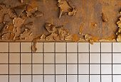 Old Cracked Dilapidated Wall And Ceramic Tile