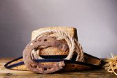 image of lasso  - American West still life with old horseshoe - JPG
