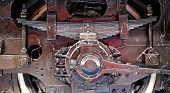 picture of train-wheel  - Wheel and spring from the old train