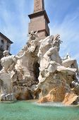 Beautiful  Four Rivers fountain  on Piazza Navona in Rome, Italy