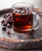 Rosehip Tea On Dark Background