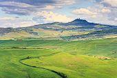 Tuscany, Radicofani Village, Farmland And Green Fields. Val D Orcia, Italy.