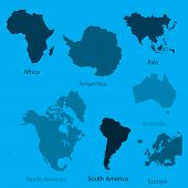 Illustration Of The Continents Of The World On White Background