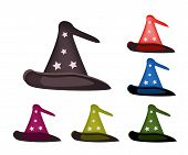 Various Colors of Lovely Witch Hat on White Background