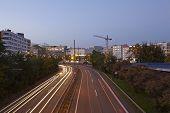 Saarbruecken - City Highway In The Blue Hour