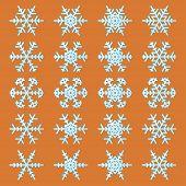 Snowflakes Icons Set On The Orange Background