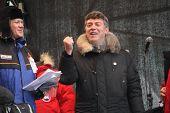 Policy Nikolay Ryzhkov and Boris Nemtsov on the stage of opposition rally